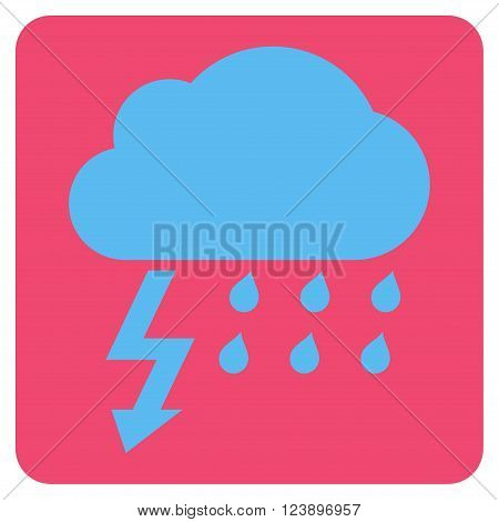 Thunderstorm vector icon symbol. Image style is bicolor flat thunderstorm pictogram symbol drawn on a rounded square with pink and blue colors.