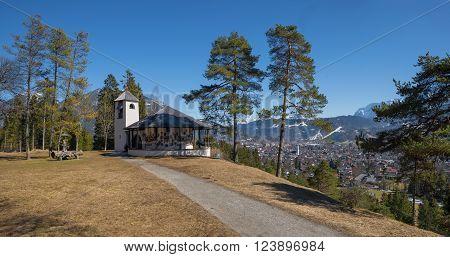 Idyllic Lookout Place Above Garmisch With War Memorial Chapel