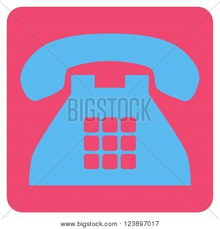 Tone Phone vector pictogram. Image style is bicolor flat tone phone icon symbol drawn on a rounded square with pink and blue colors.