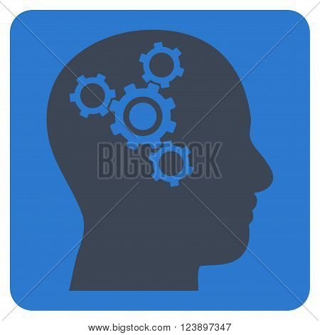 Brain Mechanics vector icon symbol. Image style is bicolor flat brain mechanics iconic symbol drawn on a rounded square with smooth blue colors.