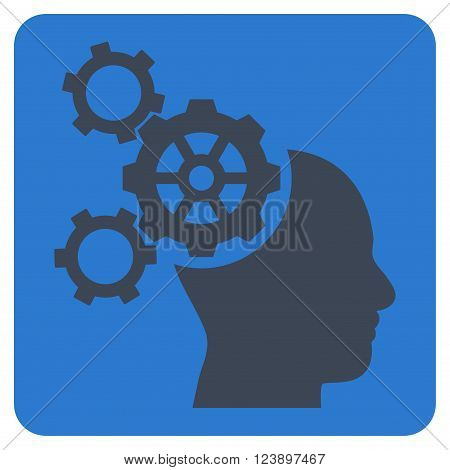 Brain Mechanics vector icon. Image style is bicolor flat brain mechanics icon symbol drawn on a rounded square with smooth blue colors.