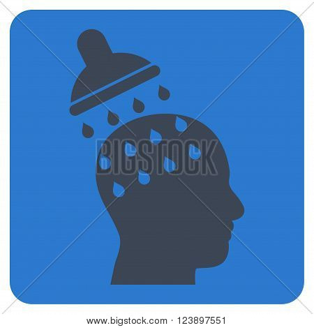 Brain Washing vector pictogram. Image style is bicolor flat brain washing pictogram symbol drawn on a rounded square with smooth blue colors.