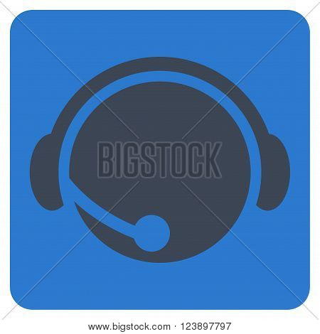 Call Center Operator vector pictogram. Image style is bicolor flat call center operator iconic symbol drawn on a rounded square with smooth blue colors.