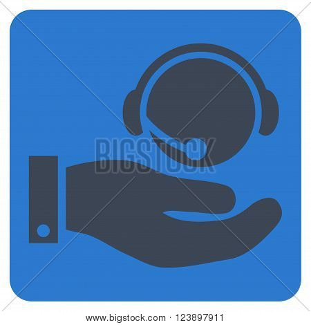 Call Center Service vector pictogram. Image style is bicolor flat call center service iconic symbol drawn on a rounded square with smooth blue colors.