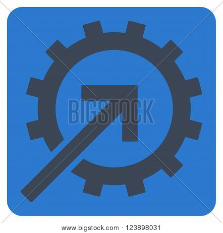 Cog Integration vector symbol. Image style is bicolor flat cog integration pictogram symbol drawn on a rounded square with smooth blue colors.