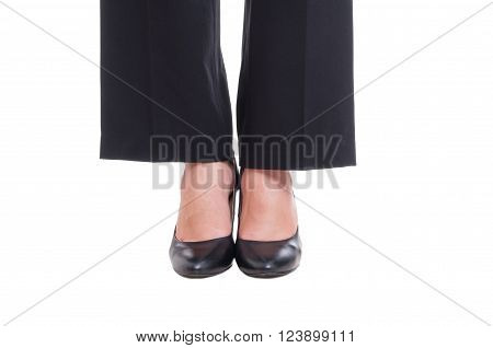 Close-up Of Business Woman Feet Wearing Black Shoes Standing Together