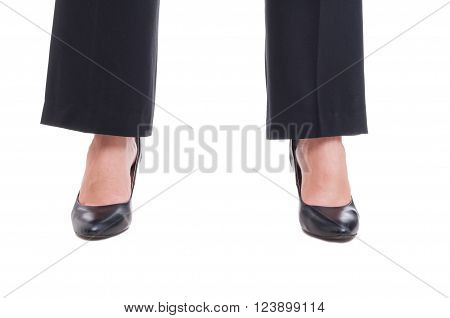 Close-up Of Business Woman Feet Wearing Black Shoes Standing Spread