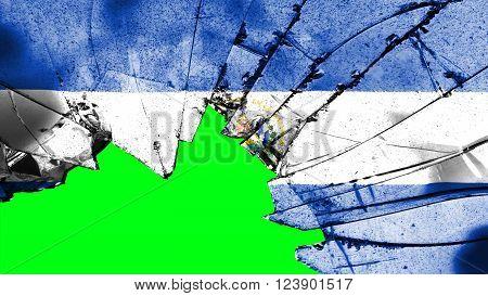 Flag of El Salvador painted on broken glass