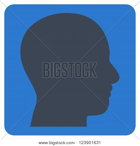 Head Profile vector pictogram. Image style is bicolor flat head profile icon symbol drawn on a rounded square with smooth blue colors.