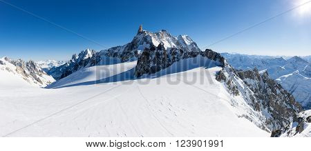Mont Blanc, France: winter panorama on Geant Glacier and Valle Blanche from Punta Helbronne
