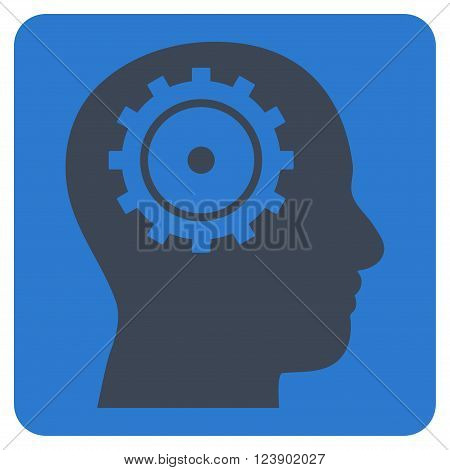 Intellect vector icon symbol. Image style is bicolor flat intellect iconic symbol drawn on a rounded square with smooth blue colors.