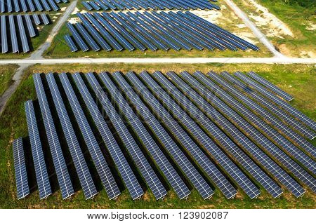 Solar farm, solar panels, photography from the air