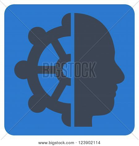 Intellect vector pictogram. Image style is bicolor flat intellect pictogram symbol drawn on a rounded square with smooth blue colors.