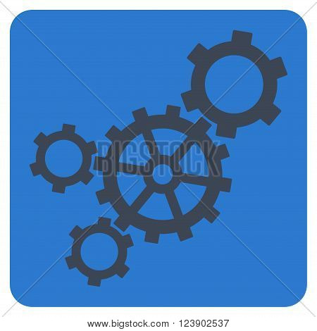Mechanism vector icon. Image style is bicolor flat mechanism pictogram symbol drawn on a rounded square with smooth blue colors.