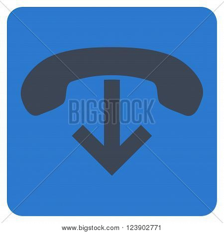 Phone Hang Up vector icon. Image style is bicolor flat phone hang up pictogram symbol drawn on a rounded square with smooth blue colors.