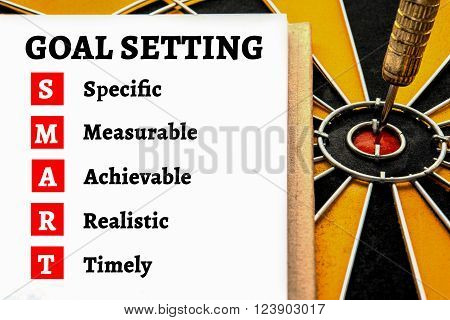 Words goal setting and smart with dart target arrow on the center of dartboard Smart goal target success business investment financial strategy concept abstract background