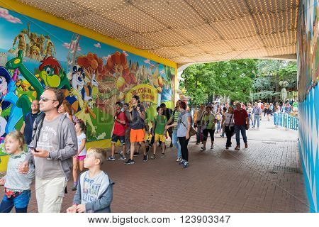 CASTELNUOVO DEL GARDA, Italy - September 08: Gardaland Theme Park in Castelnuovo Del Garda Italy on Tuesday September 8 2015. Three million people visit the park on a yearly basis.