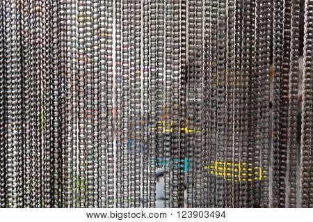 hanging bicycle chain for abstract background texture