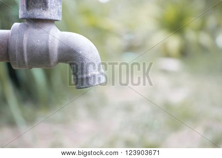 Close up metal blue water faucet Old in the forest. Water shortage concept.