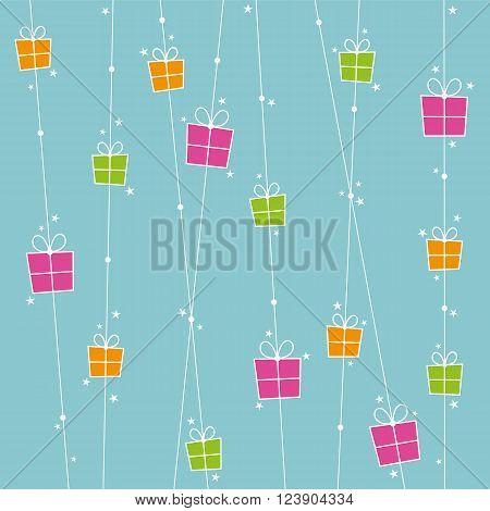 Background with orange pink and green gift boxes and stars.