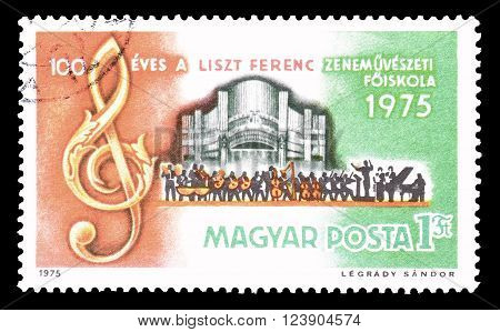 HUNGARY - CIRCA 1975 : Cancelled postage stamp printed by Hungary, that shows Ferenc Liszt Musical Academy.