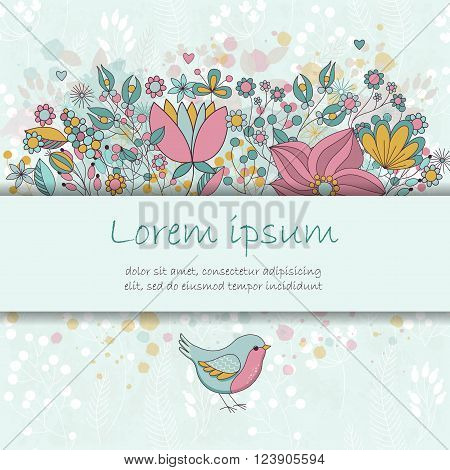 Vector card with flowers and bird. Cute colorful floral party invitation. Place for your text. Perfect for greetings invitations announcements wedding design.