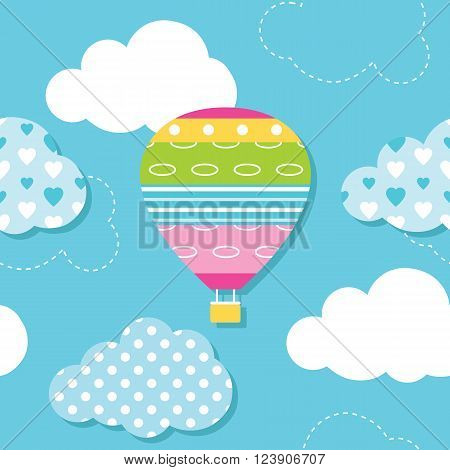 illustration of colorful hot air balloon and patterned clouds on blue background