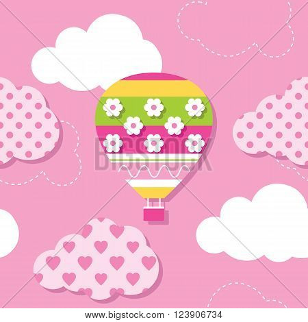 illustration of colorful hot air balloon and patterned clouds on pink background