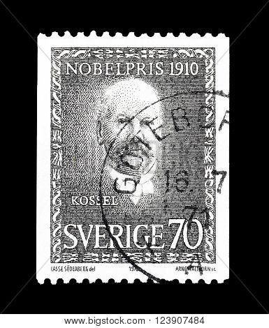 SWEDEN - CIRCA 1970 : Cancelled postage stamp printed by Sweden, that shows portrait of Nobel prize winner Kossel.