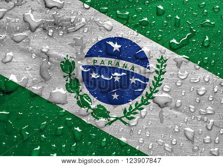 State of Parana flag with rain drops