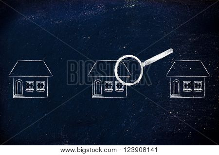 Magnifying Glass Analyzing A Group Of Houses