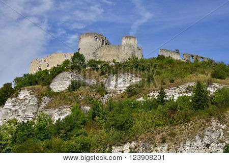 Les Andelys France - august 10 2015 Chateau Gaillard medieval castle build by the king Richard Lionheart is located 90 m above the Seine river