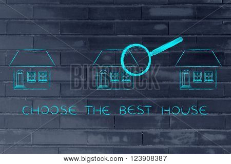 Magnifying Glass Analyzing A Group Of Houses, Choose The Best