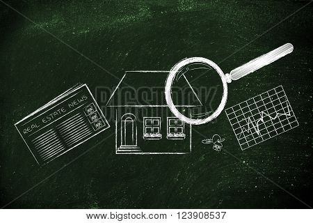Magnifying Glass Analyzing A House, With Newspaper, Stats & Keys