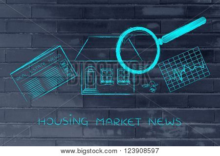 House, News & Stats With Magnifying Glass; Housing Market News