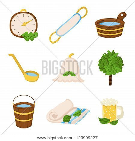 Vector sauna objects in cartoon style. Spa relax concept. Bodycare and healthcare design. Set of sauna icons