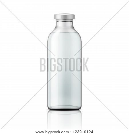 Template of empty tall transparent glass bottle with aluminium cap, filled with distilled water or salt solution. Packaging collection. Vector illustration.