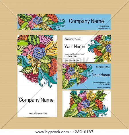 Doodl flower style business card set. Vector background. Card or invitation. Invitation template save the date. Corporate identity.