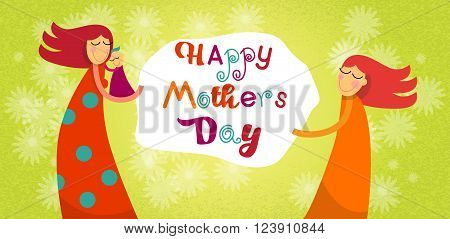 Mother Day Happy Family Children Daughter Son Embrace Mom Banner Flower Background Vector Illustration