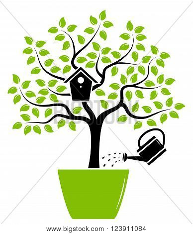 vector tree with nesting bird box in pot and watering can isolated on white background
