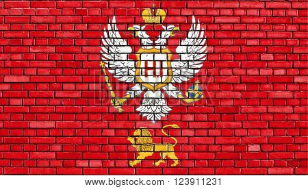 flag of Principality of Montenegro painted on brick wall
