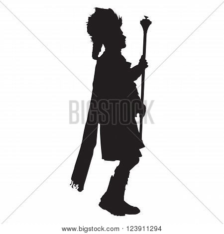 A black silhouette of the leader of a marching drum and pipe band.