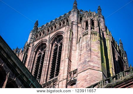 LIVERPOOL, UK: March 31st 2016: View of the Liverpool Anglican Cathedral
