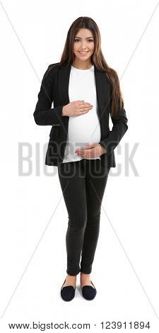 Pregnant woman in suit isolated on white