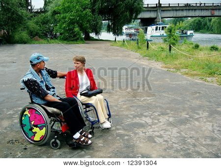 meeting of two disabled persons
