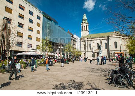 Zagreb, Croatia-March 31th, 2016: Preradovic square (Flower square), and Serbian orthodox church in Zagreb, capital of Croatia. Prominent tourist location in Zagreb with cafes, bars and restaurants.