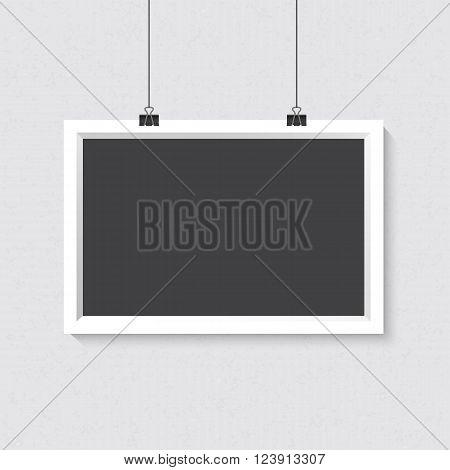 Illustration of Vector Horisontal Dark Frame Mockup. Realistic Vector EPS10 Dark Frame on the Wall Poster Template
