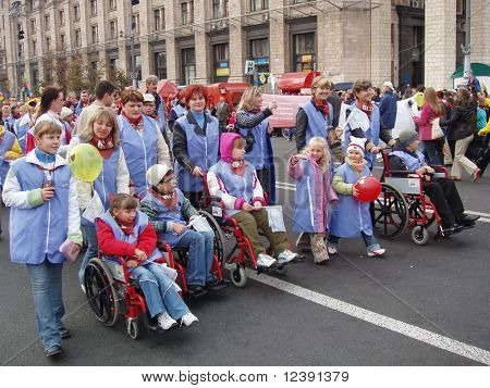 demonstration of disabled persons