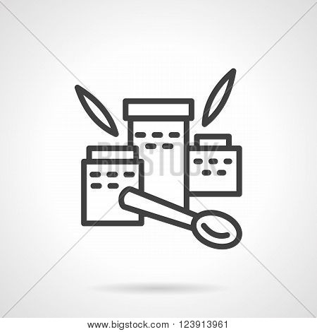 Three jars with nutritional supplements. Leaves and spoon. Organic food. Baby meal. Simple black line vector icon. Single element for web design, mobile app.