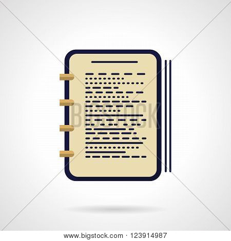 Workbook with notes and pen. Working notes. Office supplies. Journalist and writer accessories. Flat color style vector icon. Web design element for site, mobile and business.